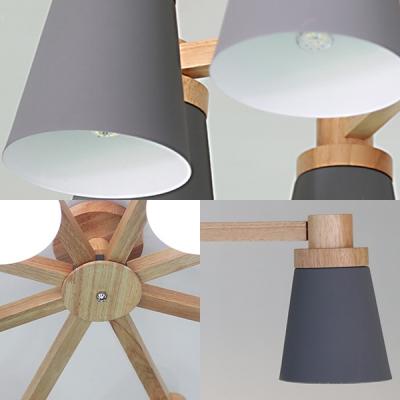 Living Room Bucket Semi Flush Mount Light Wood 3/6/8 Lights Modern Macaron Colored Ceiling Light