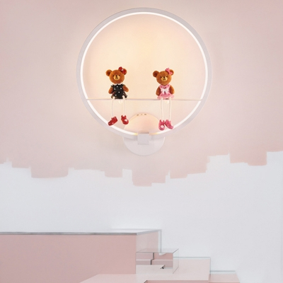 Lovely White Wall Lamp with Toy Decoration Circle Metal Sconce Light for Children Bedroom
