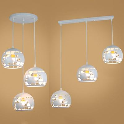 Metal Globe Pendant Light Dining Room 3 Lights Linear Round