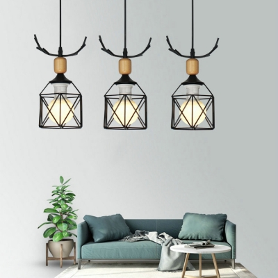 Metal Linear/Round Canopy Hanging Lamp 3 Lights Modern Ceiling Light with Antlers in Black for Bedroom