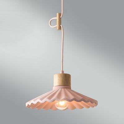 Nordic Style Scalloped Edge Pendant Light 1 Light Metal Hanging Light for Balcony Hallway