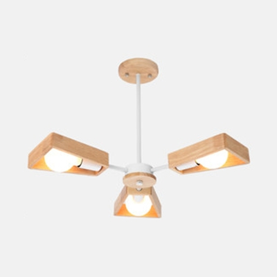 Nordic Trapezoid Shade Chandelier 3/5/6/8 Lights Wood Pendant Light in Beige for Dining Room