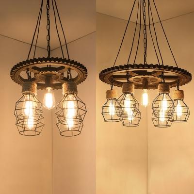 Retro Loft Edison Bulb Hanging Light 5/7 Heads Wood Pendant Lamp in Black Finish for Bar
