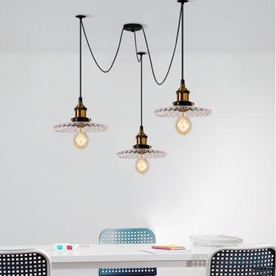 Retro Loft Scalloped Edge Pedant Lamp 3/5 Lights Clear Glass Ceiling Lamp in Brass for Living Room