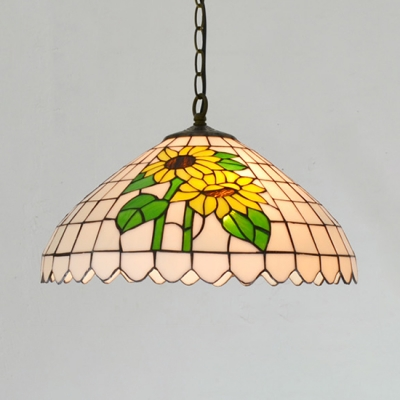 Rustic Style Multi-Color Ceiling Pendant Flowers/Cow Glass Handmade Hanging Lamp for Restaurant