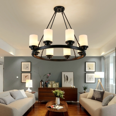 Simple Style Cylinder Chandelier Frosted Glass 3/6/8 Lights Black Pendant Light for Dining Room