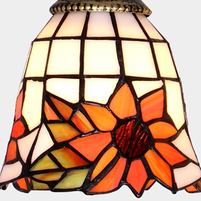 Stained Glass Bell Hanging Light with Sunflower Foyer Handmade 1 Light Rustic Ceiling Light