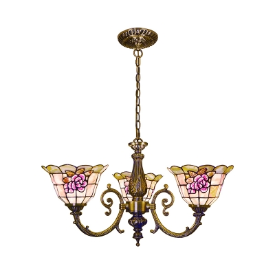 Stained Glass Flower Chandelier Bedroom 3 Lights Tiffany Style Antique Engraved Hanging Lamp
