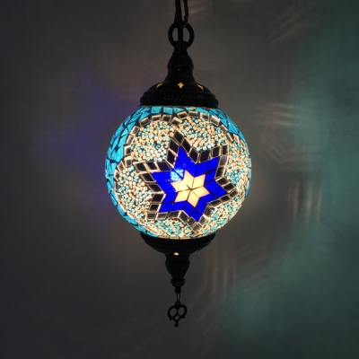 Stained Glass Orb Pendant Lamp Cafe 1/4 Pack 1 Light Moroccan Mosaic Ceiling Pendant(not Specified We will be Random Shipments)