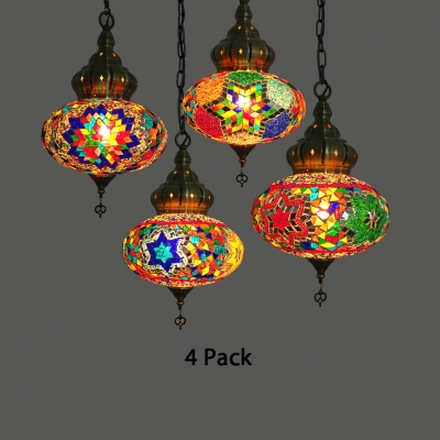 Star Pattern Cafe Hanging Light 1/4 Pack Stained Glass 1 Light Mosaic Pendant Light(not Specified We will be Random Shipments)