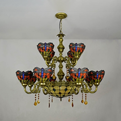 Tiffany Style Antique Dragonfly Chandelier Stained Glass 13 Lights Pendant Lamp for Living Room