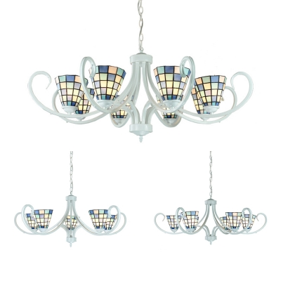 Tiffany Style Cone Chandelier Glass 5/6/8 Lights Blue Suspension Light for Living Room