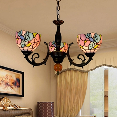 Tiffany Style Rustic Bird Chandelier 3 Lights Stained Glass Pendant Light for Dining Room