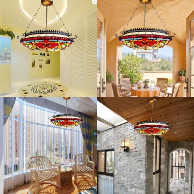Tiffany Style Victorian Dome Chandelier Stained Glass Suspension Light for Hallway Hotel