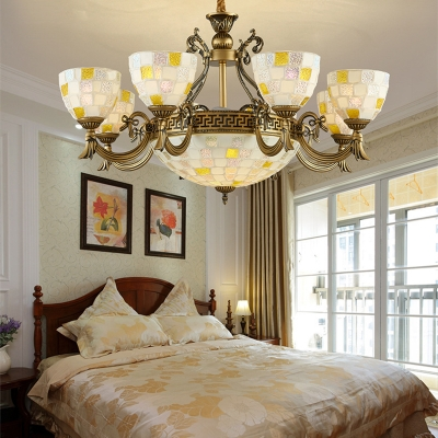 Tiffany Style Vintage White Hanging Light Dome Shade Glass Metal Hanging Light for Restaurant