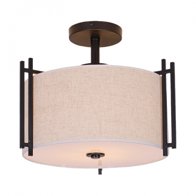 Traditional Beige Semi Flush Mount Light Drum Shade 5 Lights Fabric Ceiling Light for Dining Room