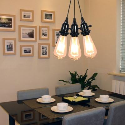 Vintage Open Bulb Pendant Light 3 Lights Glass Plug In Hanging Light in Black for Restaurant