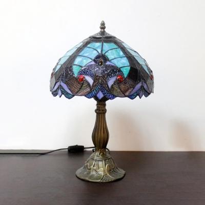 Vintage Tiffany Leaf Desk Light Stained Glass 1 Light Blue/Orange Table Light for Hotel
