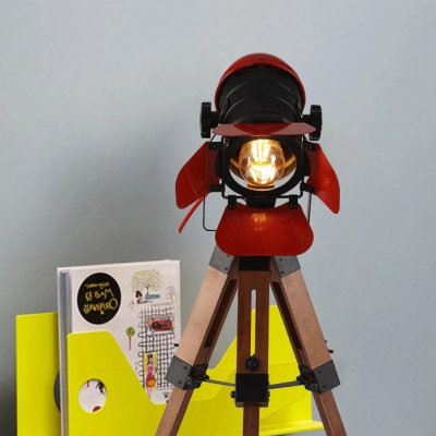 1 Light Camera Shape Desk Light Creative Edison Bulb Rotatable Table Light in Red for Study Room