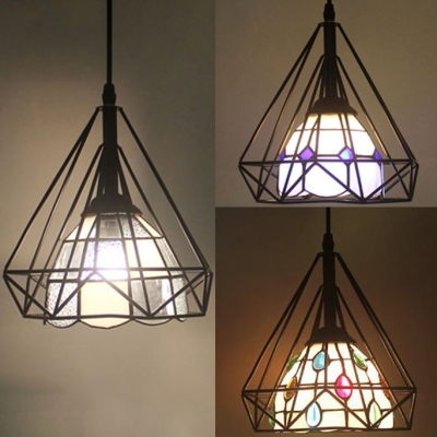 1-Light Pendant with Wire Frame