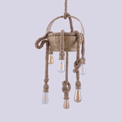 3/6 Lights Bare Bulb Chandelier Rustic Stylish Manila Rope Hanging Light with Basket in Beige for Lodge