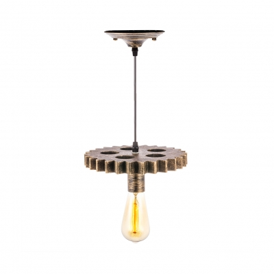 Glass Bare Bulb Ceiling Pendant Restaurant 1 Light Industrial Hanging Light with Gear in Aged Brass