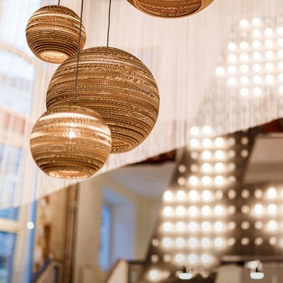 Cafe Drum/Cylinder/Globe Ceiling Pendant Paper 1 Light Asian Style Beige Hanging Light