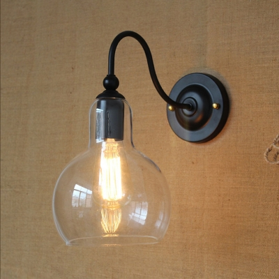 American Rustic Sphere Wall Sconce One Light Clear Open Glass Wall Light in Black for Stair