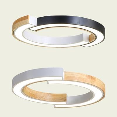 Anese Style Black White Ceiling Light Half Ring Acrylic Led Flush
