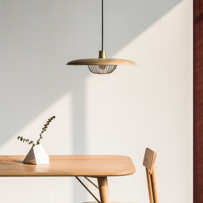 Rustic Style Saucer Pendant Light Wood 1 Light Black/Gold/White Hanging Light with Domed Cage for Foyer