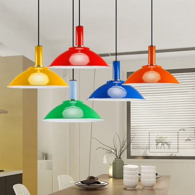 Metal Bowl Shade Hanging Light Factory One Light Modern Stylish Candy Colored Pendant Light