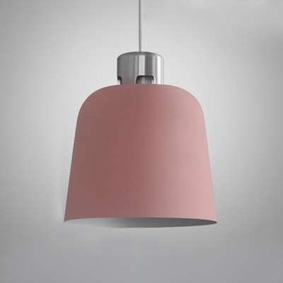 Nordic Blue/Green/Pink Pendant Light Dome Shade One Light Iron Hanging Light for Cafe Bar