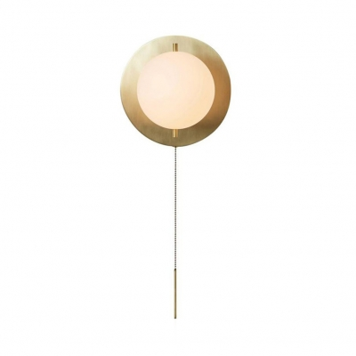 Contemporary Globe Wall Light with Pull Chain Frosted Glass Wall Lamp in Gold for Dining Room
