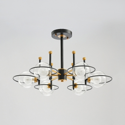 3/6/8 Lights Globe Chandelier, Small Globe Clear Glass Shade Ceiling Flush Mount Light Fixture in Black-Gold Finish