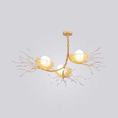 Nest Living Room Chandelier with Egg Aluminum Three Lights Creative Modern Hanging Light in Gold