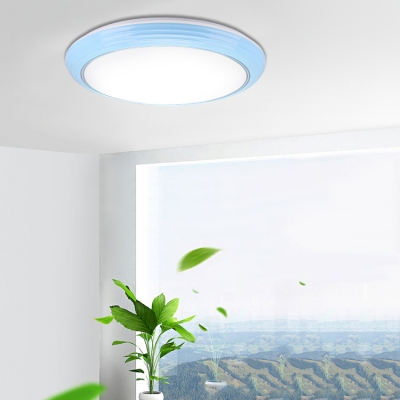 Acrylic Round LED Flush Ceiling Light Simple Modern Ceiling Fixture in Blue/Brown/Pink for Bedroom