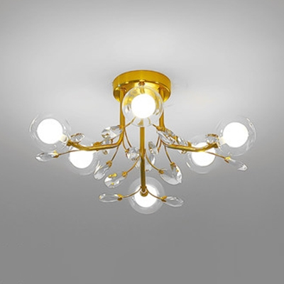Glass Spherical Semi Flush Ceiling Light with Crystal 6/15/20 Lights Contemporary Ceiling Fixture in Gold for Study Room