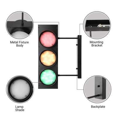 6 Light Traffic Light Industrial Style 18'' H LED Wall Light in Black Finish with Remote Control