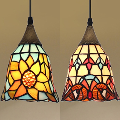 Antique Style Multi-Color Pendant Light Bell Shade 1 Light Glass Hanging Light for Restaurant