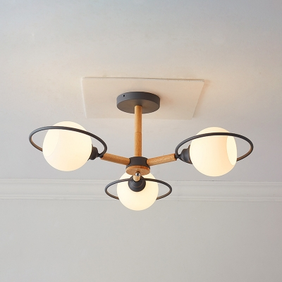 Bathroom Globe Pendant Light Open Frosted Glass 3 Lights Modern Green/Gray/Black Hanging Light