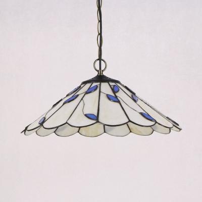 Bathroom Umbrella Shape Hanging Light Glass 1 Light Modern White Ceiling Pendant with Blue Leaf