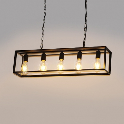 Black Br Rectangle Suspension Light