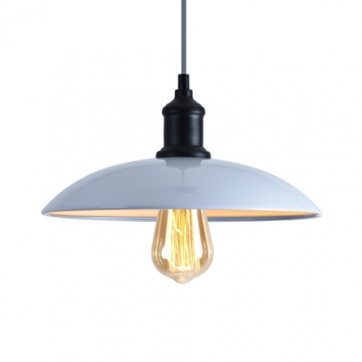 Blue/Gray/Yellow Dome Hanging Light 1 Light Industrial Edison Bulb Suspension Light for Workshop