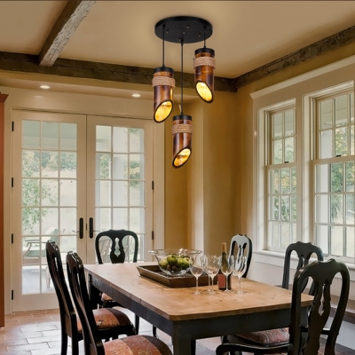 Brown Tube Pendant Light 3 Lights Rustic Stylish Bamboo Pendant Lamp for Cloth Shop Cafe