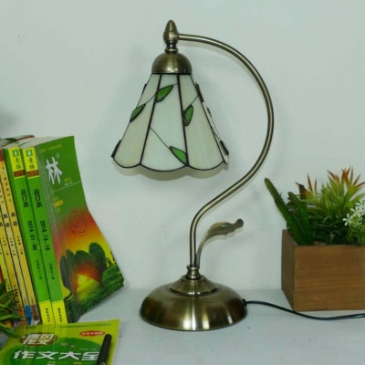 Cone Bedroom Table Light with Leaf Simple Style Art Glass 1 Light Night Light in Beige/Blue