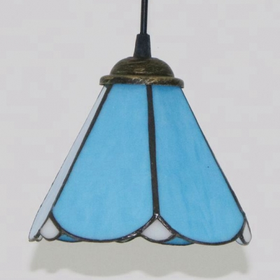Conical Shade Pendant Lamp 1 Light Tiffany Style Blue/Clear/Blue-Clear Ceiling Light for Foyer