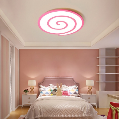 Contemporary Pink LED Flush Mount Light Lollipop Acrylic Ceiling Fixture in Warm/White for Child Bedroom