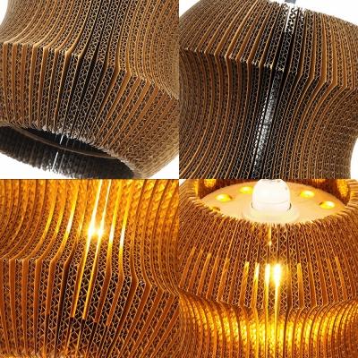 Curved Shade Villa Pendant Light Corrugated Fiberboard 1 Light Creative Suspension Light in Beige