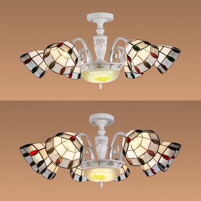 Dome Shade Living Room Chandelier Stained Glass 6/8 Lights Tiffany Style Engraved Pendant Lamp, HL525977