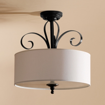 Drum Living Room Semi Flush Ceiling Light Fabric Metal 5 Lights American Rustic Ceiling Lamp in White